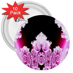 Fractal In Pink Lovely 3  Buttons (10 Pack)  by Simbadda