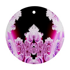 Fractal In Pink Lovely Round Ornament (two Sides)