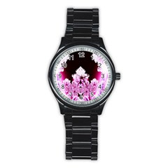 Fractal In Pink Lovely Stainless Steel Round Watch by Simbadda