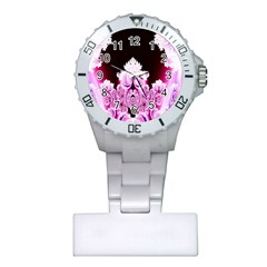 Fractal In Pink Lovely Plastic Nurses Watch by Simbadda