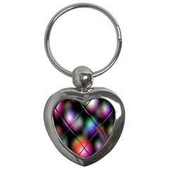 Soft Balls In Color Behind Glass Tile Key Chains (heart)  by Simbadda