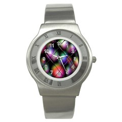 Soft Balls In Color Behind Glass Tile Stainless Steel Watch by Simbadda