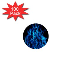 Digitally Created Blue Flames Of Fire 1  Mini Buttons (100 Pack)  by Simbadda