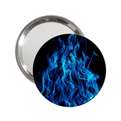 Digitally Created Blue Flames Of Fire 2 25  Handbag Mirrors by Simbadda