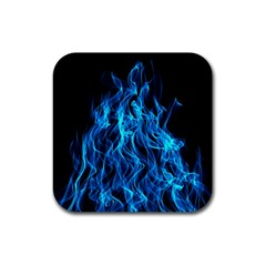 Digitally Created Blue Flames Of Fire Rubber Square Coaster (4 Pack)  by Simbadda