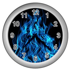 Digitally Created Blue Flames Of Fire Wall Clocks (silver)  by Simbadda