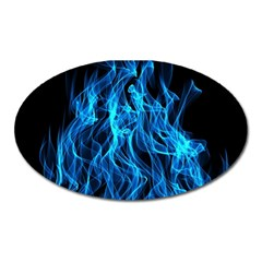 Digitally Created Blue Flames Of Fire Oval Magnet by Simbadda