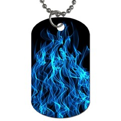 Digitally Created Blue Flames Of Fire Dog Tag (two Sides) by Simbadda