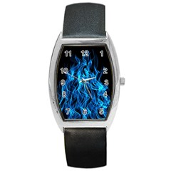 Digitally Created Blue Flames Of Fire Barrel Style Metal Watch by Simbadda