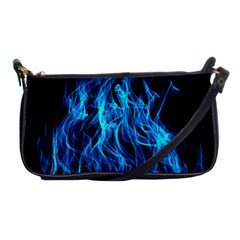 Digitally Created Blue Flames Of Fire Shoulder Clutch Bags by Simbadda