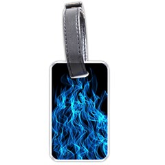 Digitally Created Blue Flames Of Fire Luggage Tags (one Side)  by Simbadda