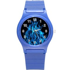 Digitally Created Blue Flames Of Fire Round Plastic Sport Watch (s) by Simbadda