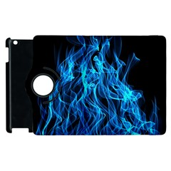Digitally Created Blue Flames Of Fire Apple Ipad 2 Flip 360 Case by Simbadda
