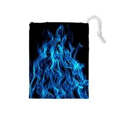 Digitally Created Blue Flames Of Fire Drawstring Pouches (medium)  by Simbadda