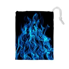 Digitally Created Blue Flames Of Fire Drawstring Pouches (large)  by Simbadda