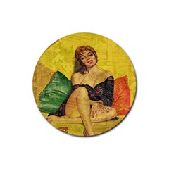 Pin Up Girl  Rubber Coaster (round)  by Valentinaart