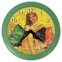 Pin Up Girl  Color Wall Clocks by Valentinaart