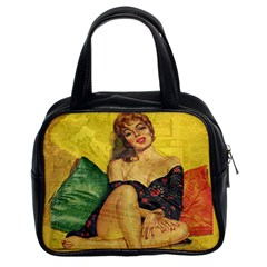 Pin Up Girl  Classic Handbags (2 Sides) by Valentinaart