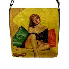 Pin Up Girl  Flap Messenger Bag (l)  by Valentinaart