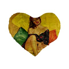 Pin Up Girl  Standard 16  Premium Flano Heart Shape Cushions by Valentinaart