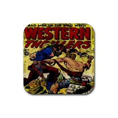 Western Thrillers Rubber Square Coaster (4 Pack)  by Valentinaart