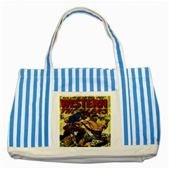 Western Thrillers Striped Blue Tote Bag by Valentinaart