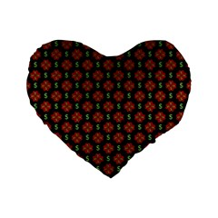 Dollar Sign Graphic Pattern Standard 16  Premium Flano Heart Shape Cushions by dflcprints
