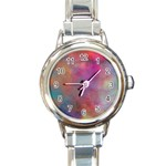 Rainbow Clouds Round Italian Charm Watch