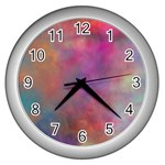 Rainbow Clouds Wall Clock (Silver)