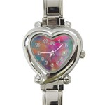 Rainbow Clouds Heart Italian Charm Watch
