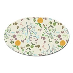 Floral Kraft Seamless Pattern Oval Magnet by Simbadda