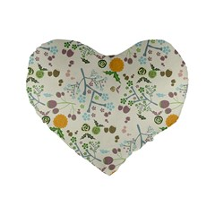 Floral Kraft Seamless Pattern Standard 16  Premium Flano Heart Shape Cushions by Simbadda