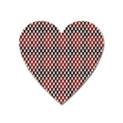 Squares Red Background Heart Magnet by Simbadda