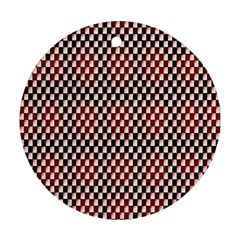 Squares Red Background Round Ornament (two Sides) by Simbadda