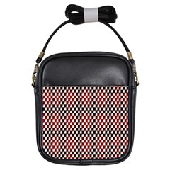 Squares Red Background Girls Sling Bags by Simbadda