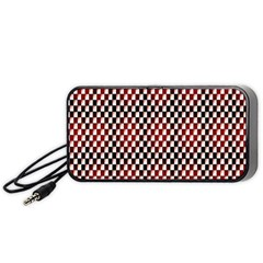 Squares Red Background Portable Speaker (black) by Simbadda