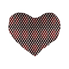 Squares Red Background Standard 16  Premium Heart Shape Cushions by Simbadda