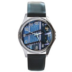 Modern Business Architecture Round Metal Watch by Simbadda