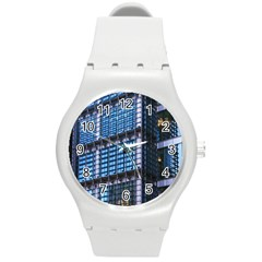 Modern Business Architecture Round Plastic Sport Watch (m) by Simbadda