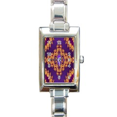 Something Different Fractal In Orange And Blue Rectangle Italian Charm Watch by Simbadda