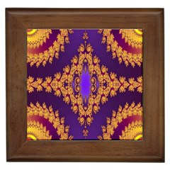 Something Different Fractal In Orange And Blue Framed Tiles by Simbadda
