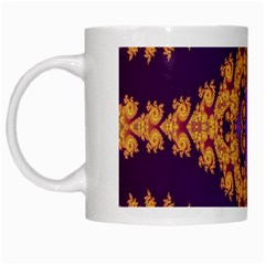 Something Different Fractal In Orange And Blue White Mugs by Simbadda