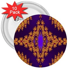 Something Different Fractal In Orange And Blue 3  Buttons (10 Pack)  by Simbadda