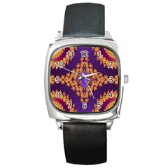 Something Different Fractal In Orange And Blue Square Metal Watch by Simbadda
