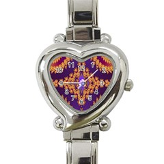 Something Different Fractal In Orange And Blue Heart Italian Charm Watch by Simbadda