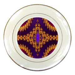 Something Different Fractal In Orange And Blue Porcelain Plates by Simbadda