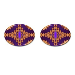 Something Different Fractal In Orange And Blue Cufflinks (oval) by Simbadda