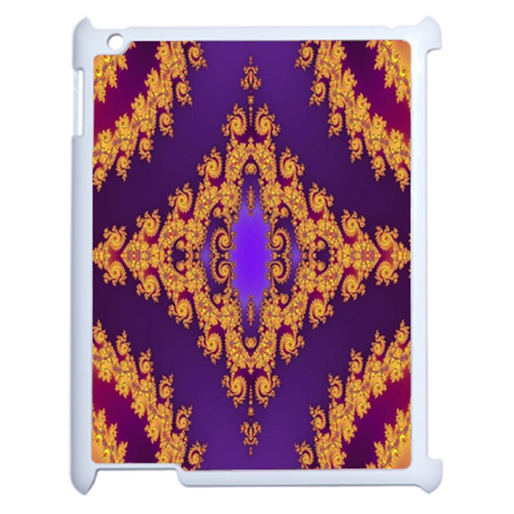 Something Different Fractal In Orange And Blue Apple iPad 2 Case (White)