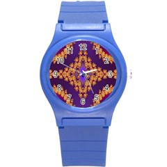 Something Different Fractal In Orange And Blue Round Plastic Sport Watch (s) by Simbadda