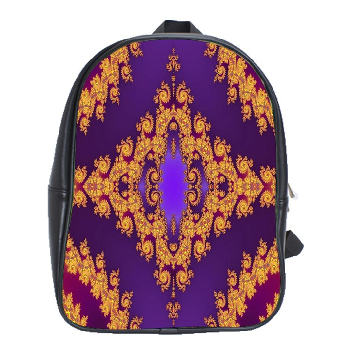 Something Different Fractal In Orange And Blue School Bags (XL)